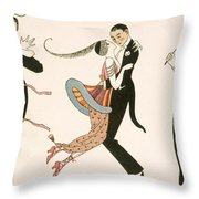 The Madness Of The Day Throw Pillow by Georges Barbier