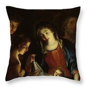 The Madonna Adoring The Infant Christ Throw Pillow