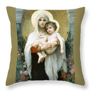 The Madonna Of The Roses Throw Pillow