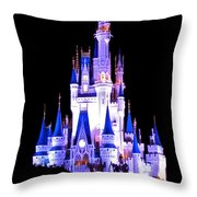 The Magic Kingdom Castle In Blue And Purple Walt Disney World Fl Throw Pillow