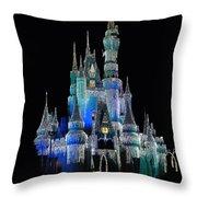 The Magic Kingdom Castle In Frosty Dark Blue Walt Disney World Throw Pillow