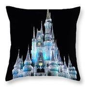 The Magic Kingdom Castle In Frosty Light Blue Walt Disney World Throw Pillow