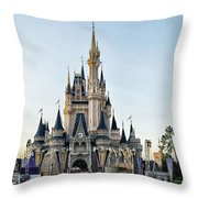 The Magic Kingdom Castle On A Beautiful Summer Day Throw Pillow