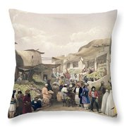 The Main Street In The Bazaar Throw Pillow