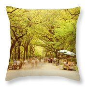 The Mall In Central Park New York City Fall Foliage Throw Pillow