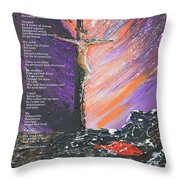 The Man On The Cross With Poem Throw Pillow