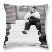 The Man With The Little Dog Circa 1938  Throw Pillow