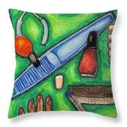 The Manicurist Throw Pillow