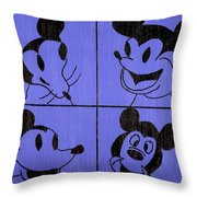 The Many Faces Of Mickey Throw Pillow