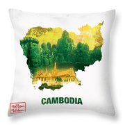 The Map Of Cambodia 2 Throw Pillow