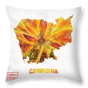 The Map Of Cambodia Throw Pillow