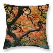 The Maple Tree At Portland Japanese Garden Throw Pillow