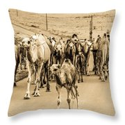 The March Of The Camels Throw Pillow