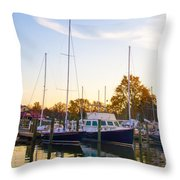 The Marina At St Michael's Maryland Throw Pillow by Bill Cannon