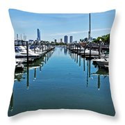 The Marina At The Golden Nugget Throw Pillow by Tom Gari Gallery-Three-Photography