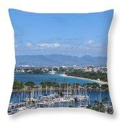 The Marina At Waikiki Throw Pillow