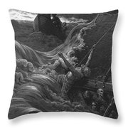 The Mariner As His Ship Is Sinking Sees The Boat With The Hermit And Pilot Throw Pillow by Gustave Dore