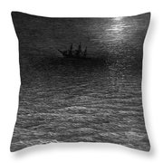 The Marooned Ship In A Moonlit Sea Throw Pillow