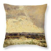 The Marsh In The Souterraine, 1842 Throw Pillow by Theodore Rousseau
