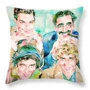 The Marx Brothers / Watercolor Painting Throw Pillow