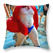 The Masked Super Hero Racer  Throw Pillow