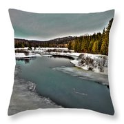 The Melting Of The Moose River In The Adirondacks Throw Pillow
