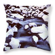 The Merced River In Winter, Yosemite Throw Pillow