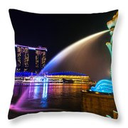 The Merlion Fountain And Marina Bay Sands - Singapore Throw Pillow