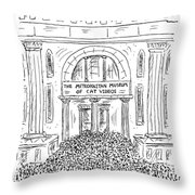The Metropolitan Museum Of Cat Videos Thronged Throw Pillow