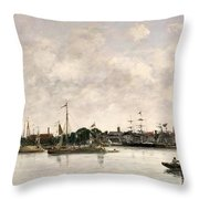 The Meuse At Dordrecht Throw Pillow by Eugene Louis Boudin