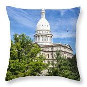 The Michigan Capitol Building Throw Pillow