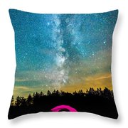 The Midnight Camper Pink Tent Throw Pillow
