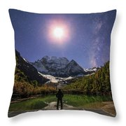 The Milky Way And Waxing Cresent Moon Throw Pillow