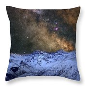 The Milky Way Over The High Mountains Throw Pillow