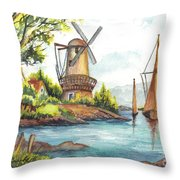 The Olde Mill Throw Pillow