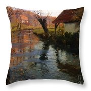 The Mill Stream Throw Pillow by Fritz Thaulow