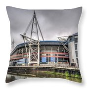The Millennium Stadium With Flag Throw Pillow
