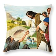 The Miracles Of Jesus  Making The Lame Man Walk Throw Pillow