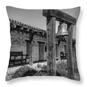 The Mission Bell B/w Throw Pillow
