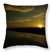 The Missouri River At Sunset South Of Culbertson Mt  Throw Pillow