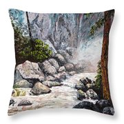 The Mist At Bridalveil Falls Throw Pillow