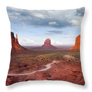 The Mittens And Merrick Butte At Sunset Throw Pillow