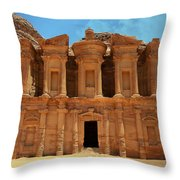 The Monastery At Petra Throw Pillow