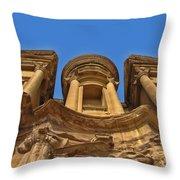 The Monastery In Petra Throw Pillow
