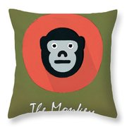 The Monkey Cute Portrait Throw Pillow