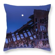 The Moon Sets Over The Wreck Throw Pillow