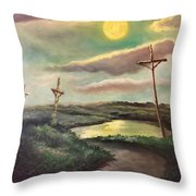 The Moon With Three Crosses Throw Pillow