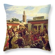 The Moroccan Storyteller Throw Pillow by Alfred Dehodencq