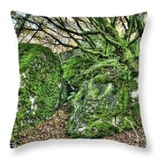 The Mossy Creatures Of The Old Beech Forest Throw Pillow