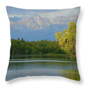 The Mountain Guards The River Throw Pillow